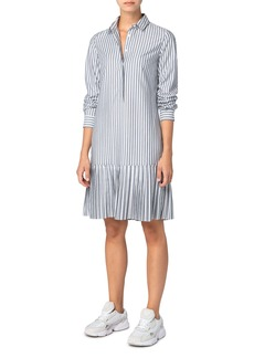 Akris punto Kodak Stripe Pleated Hem Long Sleeve Poplin Shirtdress