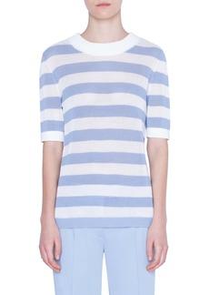 Akris punto Kodak Stripe Short Sleeve Sweater