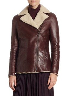 Akris Punto Lacquered Leather & Shearling Jacket