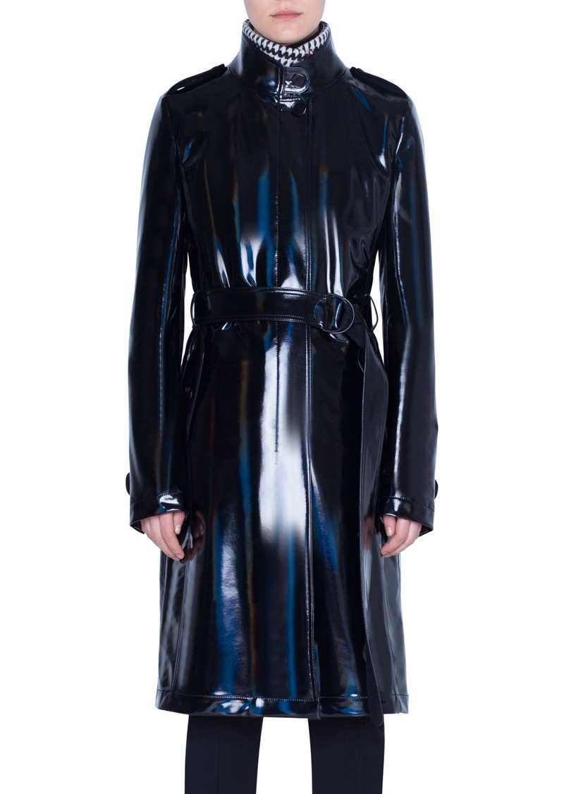 Akris punto Lacquered Trench Coat with Removable Glen Check Vest