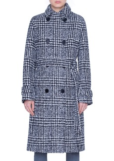 Akris punto Lacquered Wool Check Trench Coat