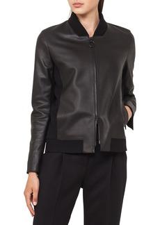 Akris punto Leather Bomber Jacket with Detachable Hem
