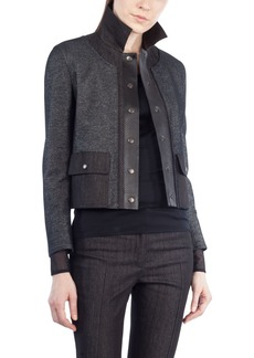 Akris punto Leather Trim Crop Denim Jacket