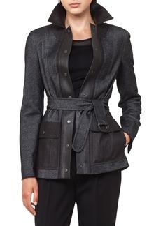 Akris punto Leather Trim Denim Jacket