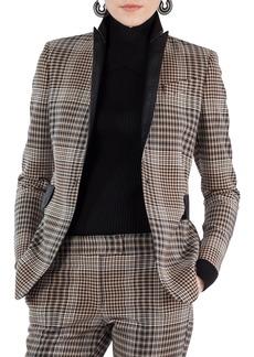 Akris punto Leather Trim Glen Check Stretch Jersey Blazer