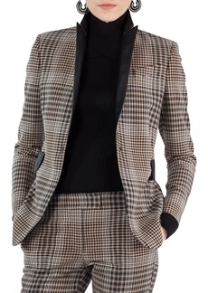 Akris punto Leather Trim Glen Check Stretch Jersey Blazer