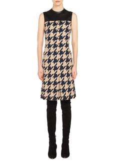 Akris punto Leather Trim Houndstooth Jacquard Dress