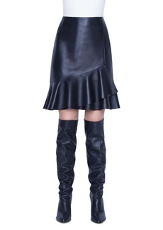 Akris punto Leather Volant Skirt
