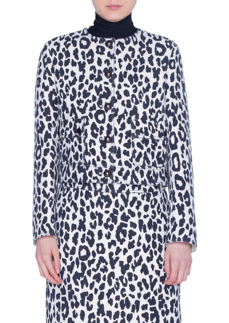 Akris punto Leopard-Print Heavy Wool Crepe Jacket