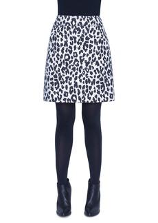 Akris punto Leopard Print Heavy Wool Crepe Mini Skirt