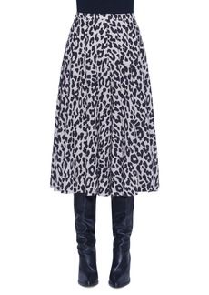 Akris punto Leopard Print Pleated Wool Skirt