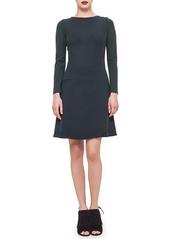 Akris punto Long-Sleeve Faux-Wrap Dress