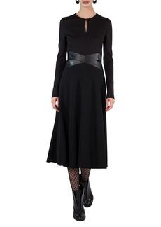 Akris punto Long-Sleeve Keyhole Midi Dress