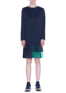 Akris punto Long Sleeve Pleated Hem Neoprene Dress