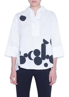 Akris punto Luna Dot Print Cotton Shirt