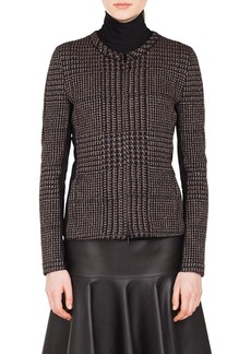 Akris punto Metallic Houndstooth Jacquard Jacket