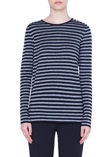 Akris punto Metallic Stripe Wool Blend Sweater