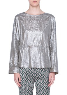 Akris punto Metallic Textured Cotton Peplum Blouse