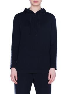 Akris punto Metallic Tuxedo Stripe Wool Sweater