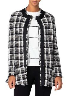 Akris punto Metallic Tweed Drop Waist Peplum Jacket