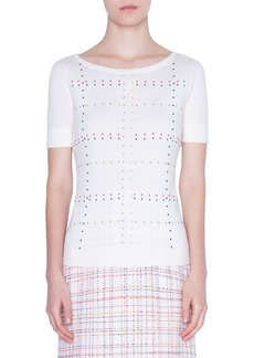 Akris punto Multicolor Stud Short Sleeve Sweater
