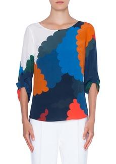 Akris punto Nuvola Print Silk Blouse