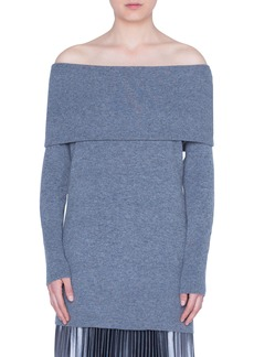 Akris punto Off the Shoulder Wool & Cashmere Pullover
