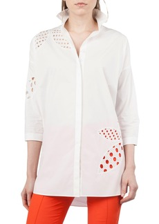 Akris punto Palm Leaf Eyelet Tunic Top