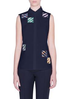 Akris punto Patchwork Embroidered Sleeveless Shirt