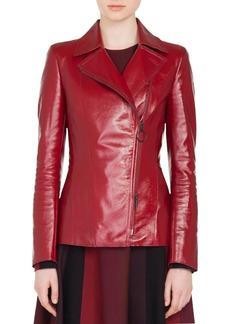 Akris punto Patent Leather Biker Jacket