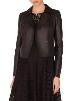 Akris punto Perforated Leather & Jersey Moto Jacket