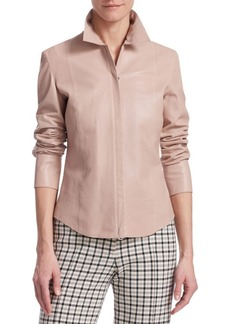 Akris Punto Perforated Leather Blouse