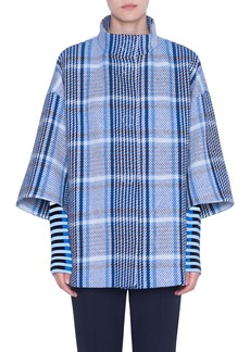 Akris punto Plaid Tweed Cotton Blend Coat