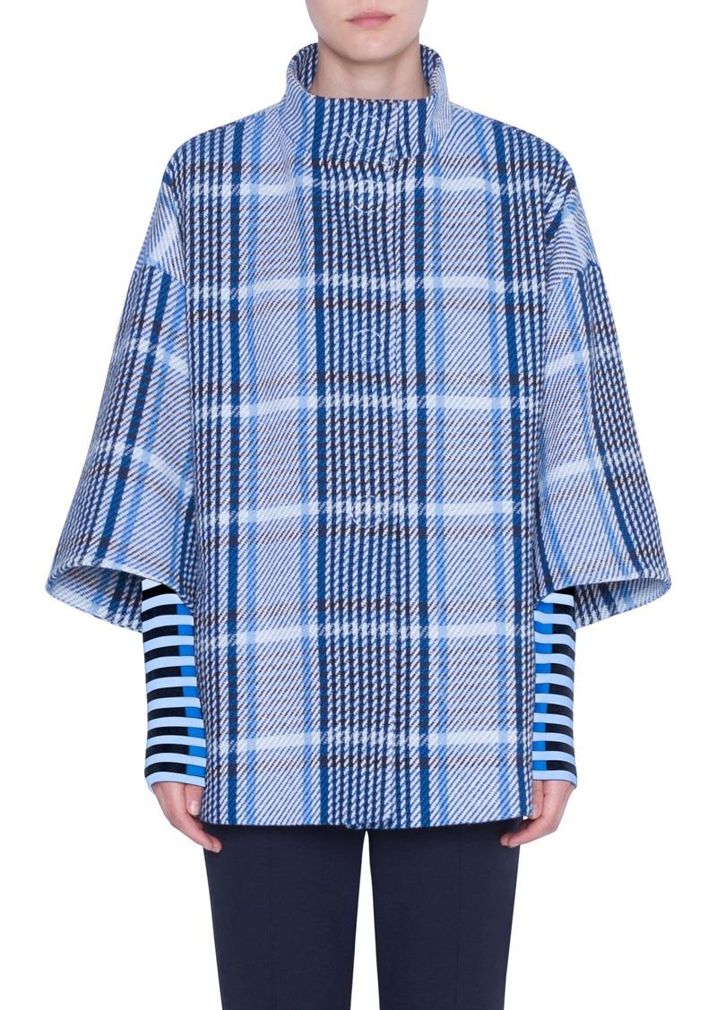 Akris punto Plaid Tweed Cotton Blend Coat