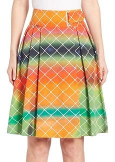 Akris punto Pleated Cotton Net-Print Skirt