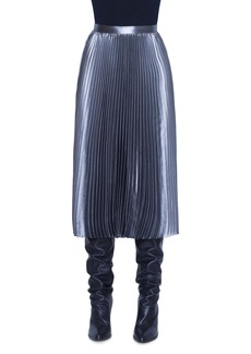 Akris punto Pleated Metallic Crepe Midi Skirt