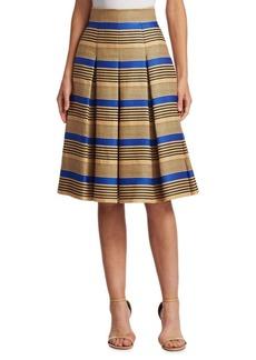 Akris Punto Pleated Striped Skirt