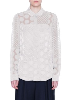 Akris punto Polka Dot Devoré Blouse