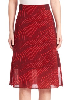 Akris punto Printed Wool A-Line Skirt