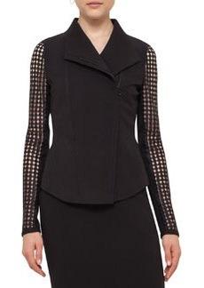 Akris punto Punto Lace-Sleeve Zip-Front Jacket