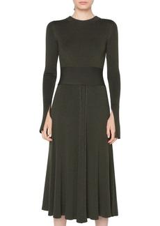 Akris punto Rib Knit Merino Wool Midi Dress