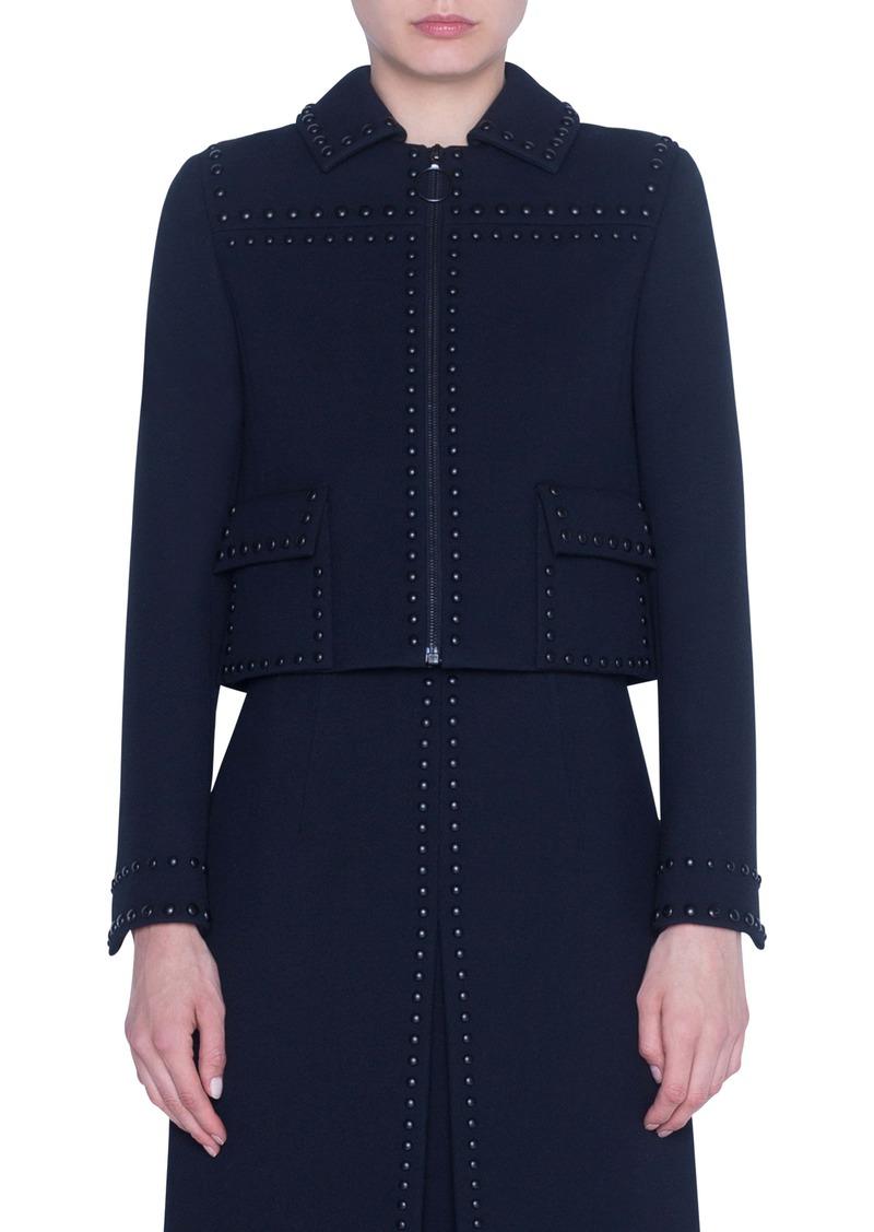 Akris punto Rivet Detail Wool Crop Jacket