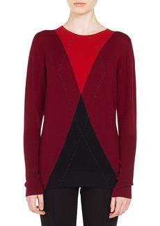 Akris punto Round-Neck Argile Pattern Cashmere-Blend Sweater