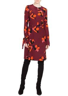 Akris punto Round-Neck Long-Sleeve A-Line Ruched-Cuff Anemone-Print Silk Dress
