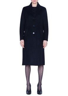 Akris punto Ruffle Back Raw Cut Wool Blend Coat