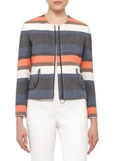 Akris punto Ruffle Back Stripe Jacket