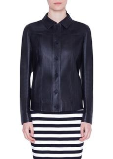 Akris punto Ruffle Detail Perforated Leather Jacket