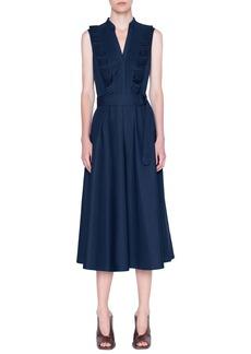 Akris punto Ruffle Sleeveless Midi Dress