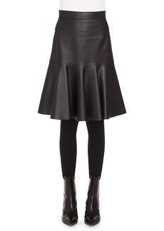 Akris punto Ruffled Hem Leather Skirt