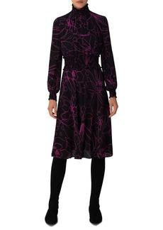 Akris punto Sashiko Floral Long Sleeve Silk Dress